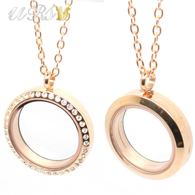 20mm/25mm/30mm/35mm magnetic closure rose gold czech crystals 316L stainless steel floating memory locket pendant with necklace Ювелирное изделие
