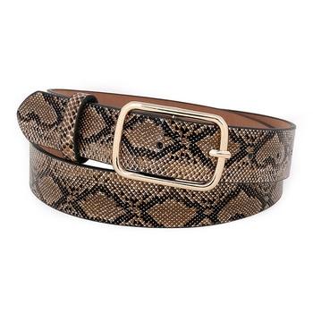 OLOME Vintage Snake Belt Female Leather PU Wide Punk Gold Metal Buckle Snakeskin Dress Waist Women