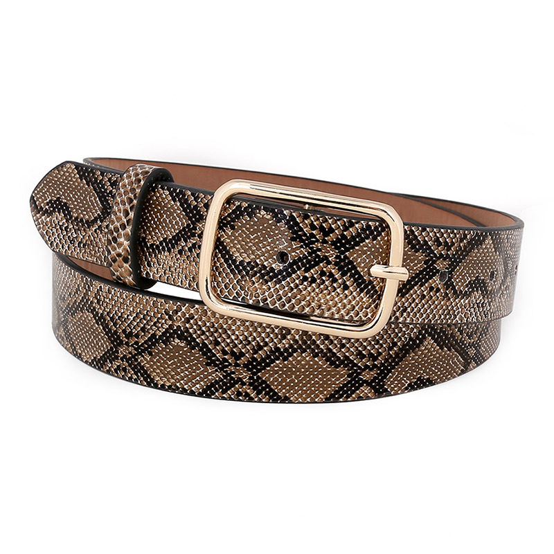 OLOME Vintage Snake   Belt   Female Leather PU Wide Punk Gold Metal Buckle Snakeskin Dress Waist   Belt   Women