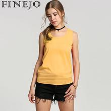 FINEJO Hot Sale Women Tops Chiffon Shirt Sleeveless Fashion O-Neck Female Summer Casual Tank Top
