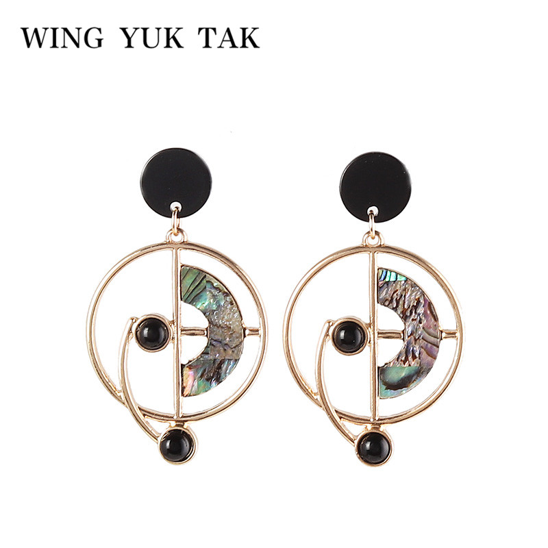 wing yuk tak Korean Fashion Women jewelry shell Earrings Vintage Round Drop Accessories