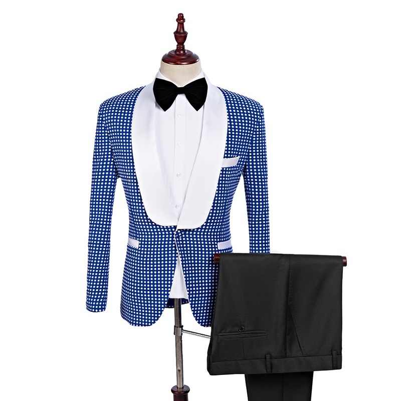 Gwenhwyfar 男性ブルー結婚式新郎スーツのズボン、白スポットブレザータキシード男性の結婚式はウエディングベストマンのスーツ (ジャケット + パンツ)