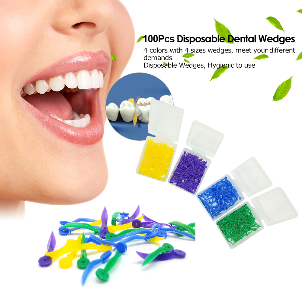 100pcs Disposable Dental Plastic Wedge With Hole 4 Size Medical