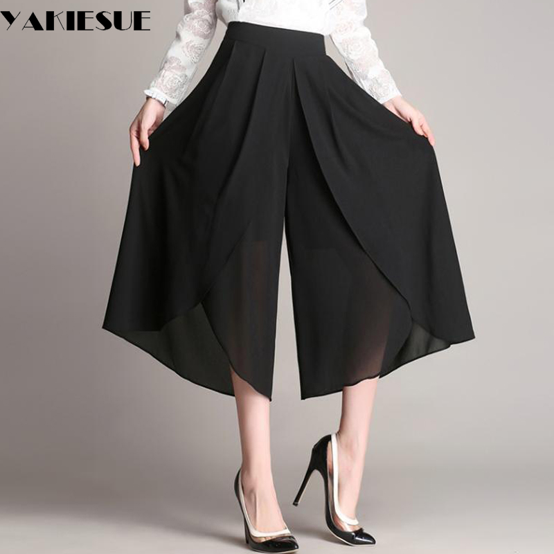 2017 wide leg pants capris women chiffon high elastic waist loose thin straight pants female trousers pantalon femme mujer