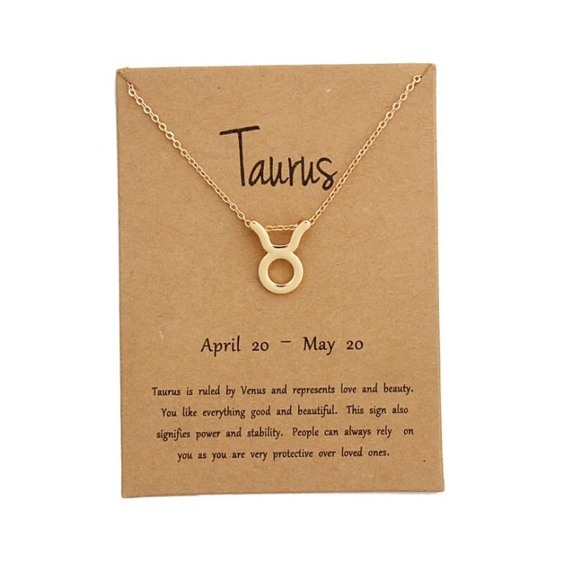 12 Constellation Zodiac Sign Pendant Necklace Gold Short Chain Choker Leo Libra Necklaces for Womens Girl Jewelry Birthday Gift
