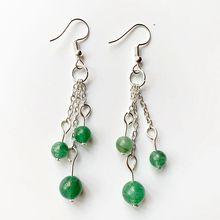 Natural Green Aventurine Stone Beads Crystal Hook Drop Earrings Tassel Long Metal Silver Color Jewelry 1 Pair