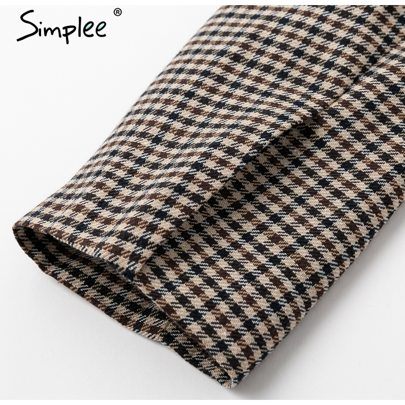 Simplee Fashion double breasted plaid blazer Female long sleeve office ladies blazer 18 Autumn jacket women outerwear coats 16