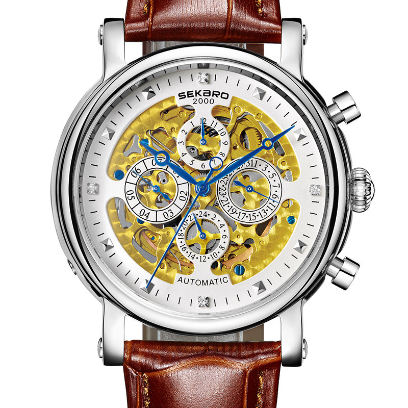 все цены на SEKARO 8068 Switzerland watches men luxury brand skeleton automatic mechanical Tradition wristwatch fashion white Calfskin