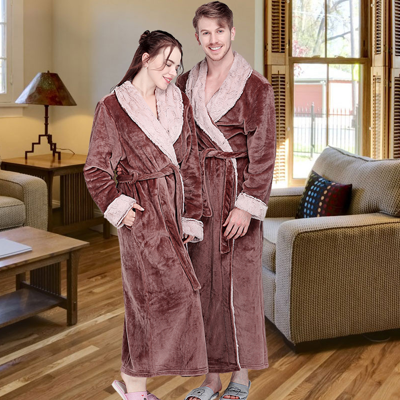 Women Winter Extra Long Thick Flannel Bath Robe Warm Peignoir Femme Sexy Fur Dressing Gown Men Bathrobe Bridesmaid Wedding Robes