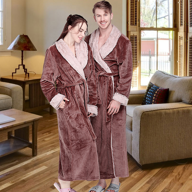 27a15a3447 Women Winter Extra Long Thick Flannel Bath Robe Warm Peignoir Femme Sexy  Fur Dressing Gown Men Bathrobe Bridesmaid Wedding Robes