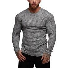 Summer Brand 2019 Fashion Men Hooded Solid Long Sleeve T-shirt Classic Navy Ribbed Knit Super Slim Crew Sleeve Style T shirt Men недорго, оригинальная цена
