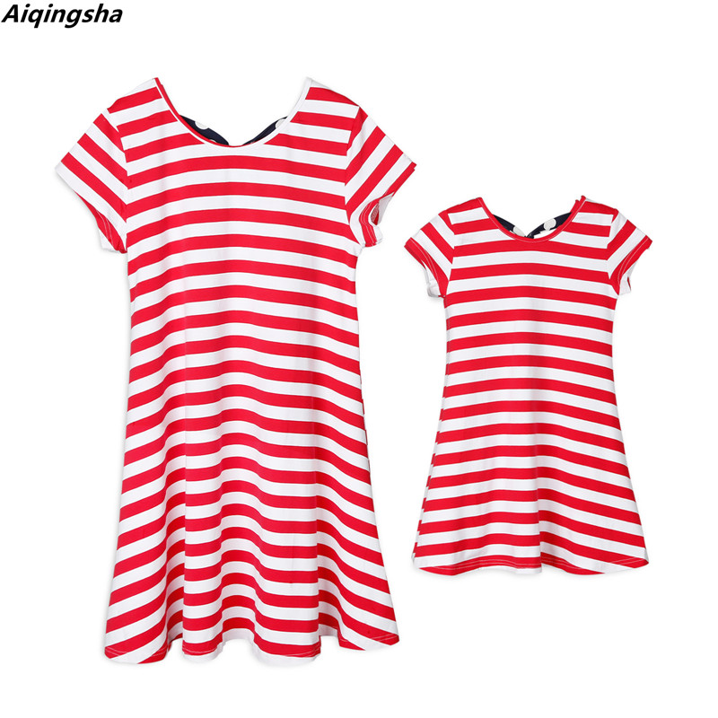 Mother Daughter Dresses American Flag Print Design Family Matching Outfits Look Set Mommy and Me Striped Clothes Mother Kids