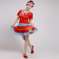 Chinese Folk Dance Clothes Adult Women National Miao Hmong Dance Costume Traditional Ethnic Clothes Halloween Cosplay Outfits