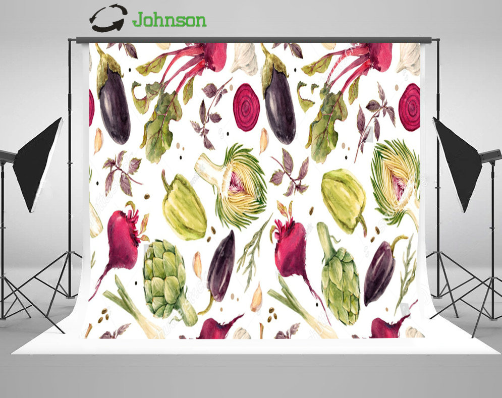 Eggplant Vegetable Beets Onions Garlic Artichoke Pepper backdrop polyester or Vinyl clot ...