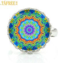 Купить с кэшбэком TAFREE buddhist yoga women jewelry rings fashion mandala flower charms crown ring Sacred Geometry zen faith jewellery HT187