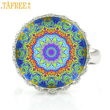 TAFREE buddhist yoga women jewelry rings fashion mandala flower charms crown ring Sacred Geometry zen faith jewellery HT187(China)