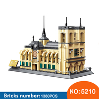 Wange 5210 Architecture NOTRE DAME CATHEDRAL of Paris Building Blocks Classic Landmark Model Bricks Toys For Children