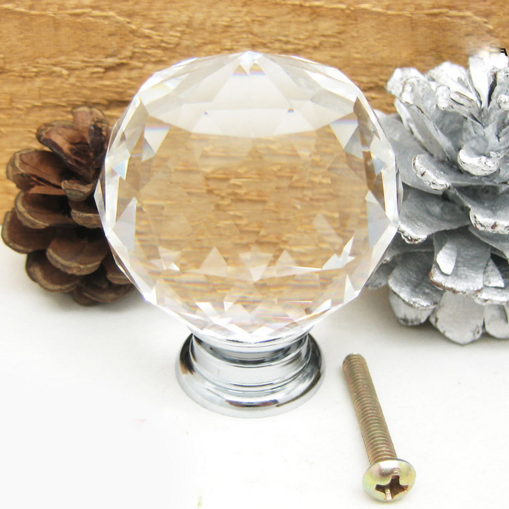 50pcs/lot 40mm Clear Round Glass Cabinet Drawer Crystal