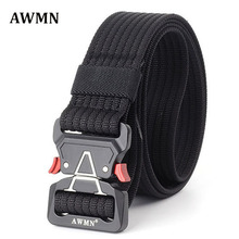 AWMN Male Tactical military Canvas white buckles Belt Outdoor Tactical Belt men's Military Nylon Belts Army ceinture homme 69