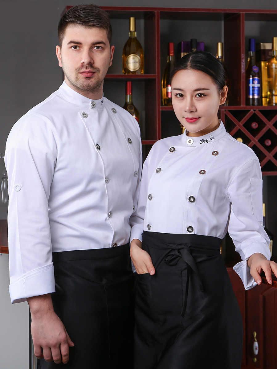 シェフ制服新卸売刺繍レストランユニセックスキッチン通気性調理着用カスタム印刷ロゴ水筒 Shushi ショップ