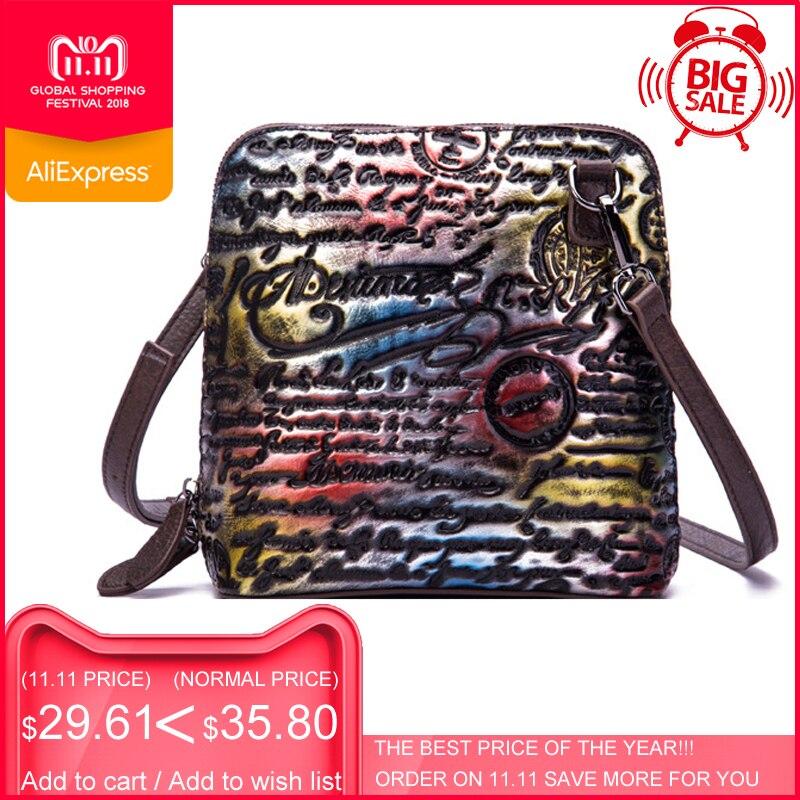 цены на New ESUFEIR Luxury Women Shell Messenger Bag Genuine Leather Embossed Vintage Shoulder Bag Ladies Fashion Handbags Crossbody Bag в интернет-магазинах