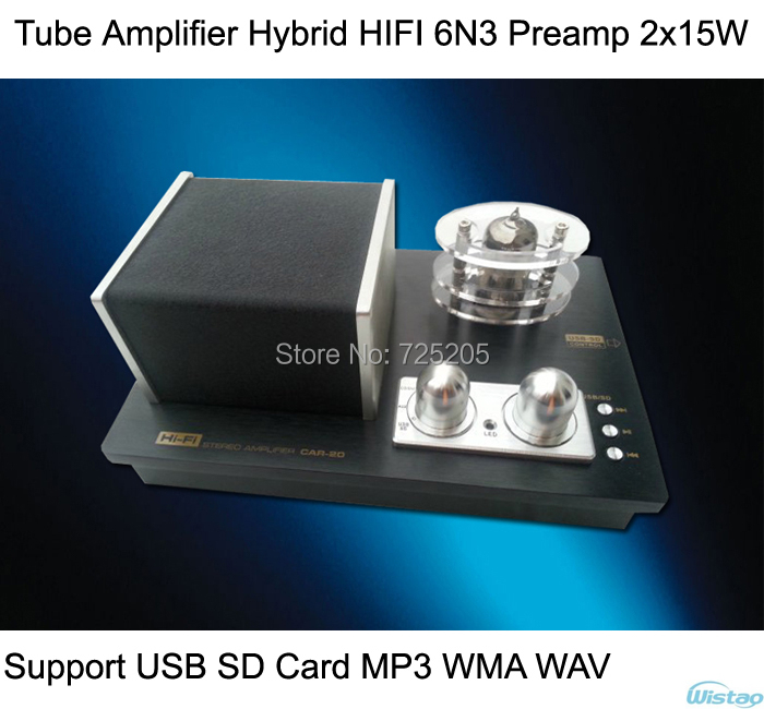 Iwistao трубки Усилители домашние Гибридный HiFi 6N3 предварительно Усилители домашние 2x15 Вт Поддержка USB SD карты MP3 WMA