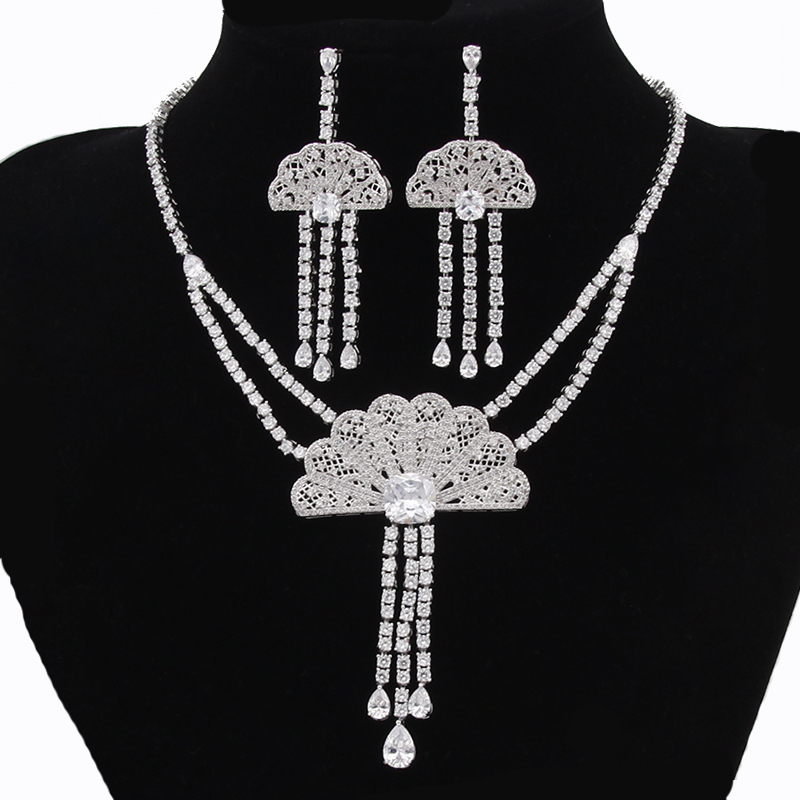 Luxury Crystal Zircon Wedding Jewelry Sets African Jewelry Sets Choker Necklace Earrings For Women Parure Bijoux Femme Ma AS088 stylish faux zircon tattoo choker necklace for women