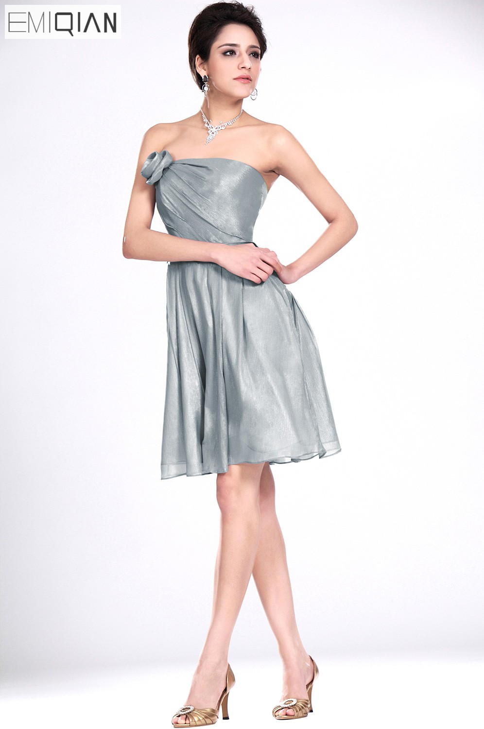 Freeshipping Strapless Silver Gray Chiffon Knee Length Short   Bridesmaid     Dress   Wedding Party   Dress