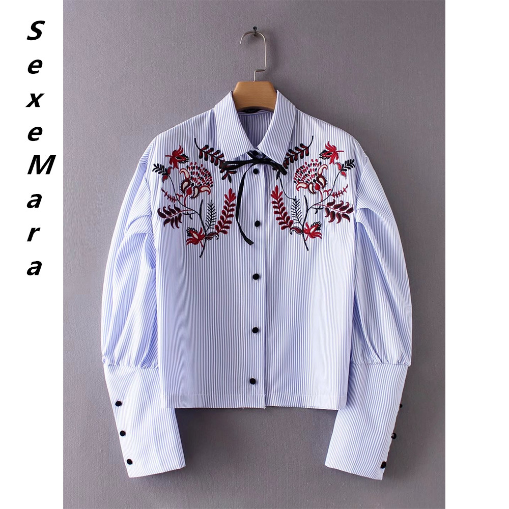 c3cb2be662826d women's blouse cotton embroidery regular style button lapel lantern turn-down  collar sleeve striped summer casual lady's shirt   AMO