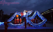7m Panjang Saiz 5 Bersadur emas 6 murid LED lampu Cina DRAGON DANCE ORIGINAL DragonFestival Celebration Costume