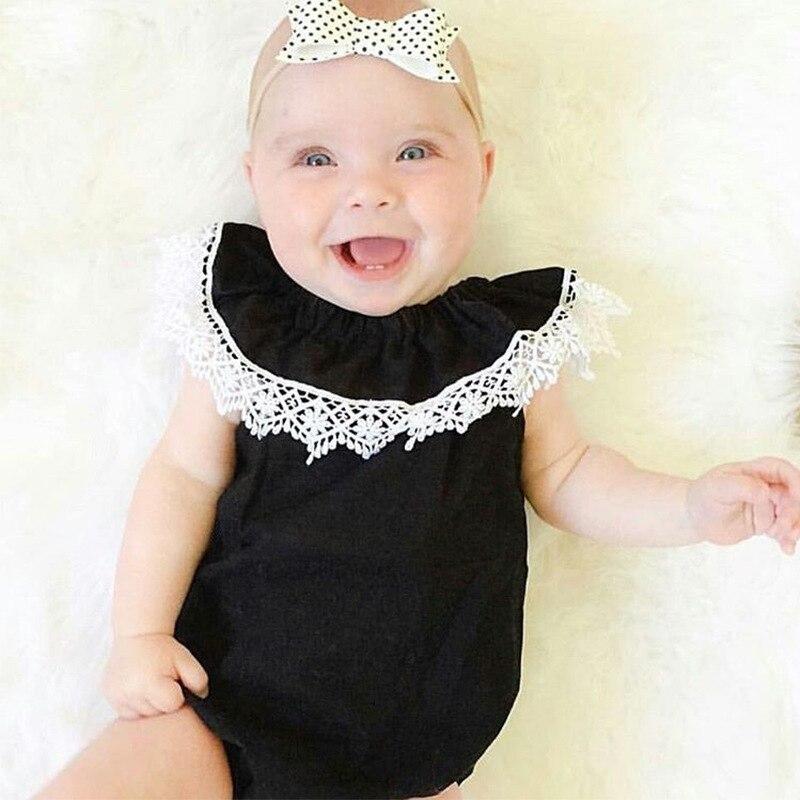 CN zomer baby meisje bodysuits katoen kant zwart mouwloos Jumpsuit - Babykleding - Foto 2
