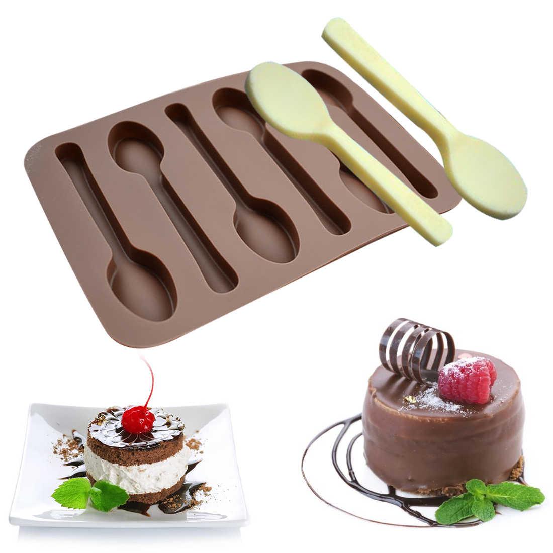 Nướng Bánh 1 KHUÔN SOCOLA 6 Lỗ MUỖNG Hình Bánh Khuôn Tự Làm Xà Phòng Kẹo Mứt Băng Stencils Bếp Bánh Ngọt dụng Cụ Bánh Chảo