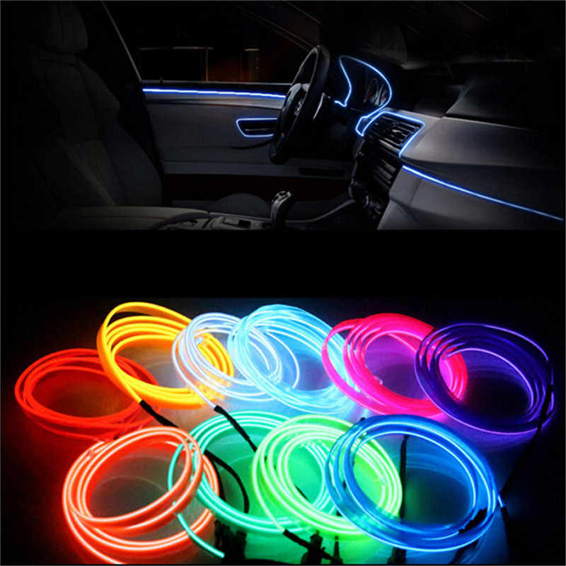113cm 3V AA Controller led neon lights Flexible Glow EL Wire Rope Tube Tape Car Waterproof for room Clothing Shoes New