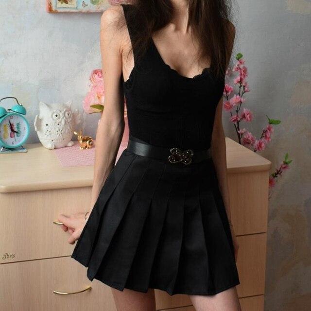 ELEXS Women Fashion Summer high waist pleated skirt Wind Cosplay skirt kawaii Female Mini Skirts Short Under it E1119 2