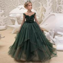 купить Girl flower dress kids wedding pageant dress girl first communion dress по цене 6187.46 рублей