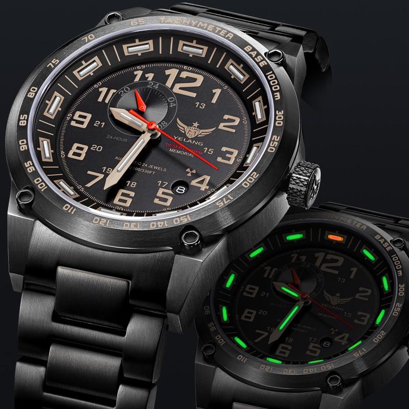 Brand men tritium light watch automatic mechanical sapphire wr100m japan 24jewels luminous men for Watches of japan