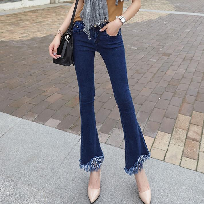 women Skinny pants fashion Fringed edges denim pant Flares   jeans