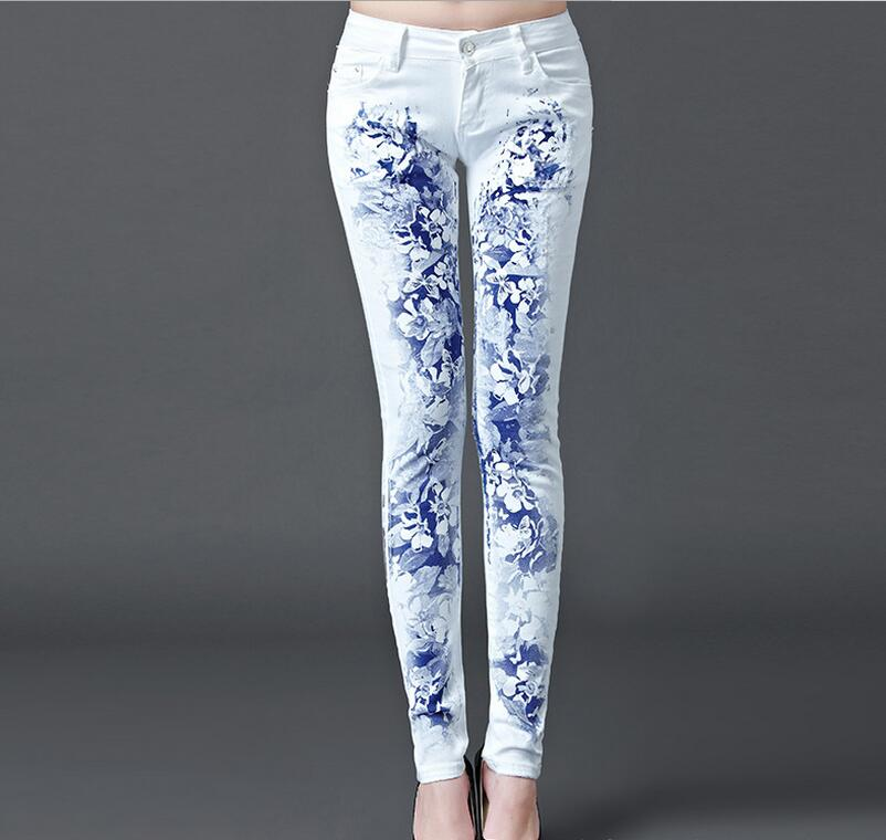 New Fashion Jeans Women Printing Pencil Pants Jeans Sexy Slim Elastic Skinny Pants Trousers Lady Jeans Clothing N17-70E
