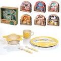 Encantador dos desenhos animados bacia de alimentação do bebê fibra de bambu do bebê pratos placa bandeja cup food container crianças talheres colher garfo set c01