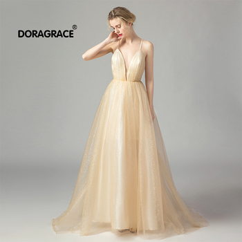 Doragrace robe de soiree In-Stock Sequins Tulle Sexy Deep V-Neck Backless Long Prom Dresses Champagne Evening Gowns