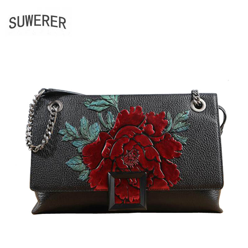 2018 New women bag genuine leather brands Handmade Embossing flower fashion cowhide handbags women leather shoulder bags 2016 new women genuine leather bag fashion chinese style top quality cowhide embossing women leather handbags shoulder bag
