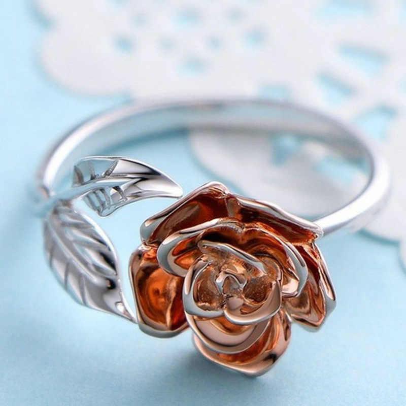 สินค้าใหม่ rose ดอกไม้แหวนผู้หญิงหญิงปรับขนาดสีขาวแหวนแฟชั่นเครื่องประดับงานแต่งงาน