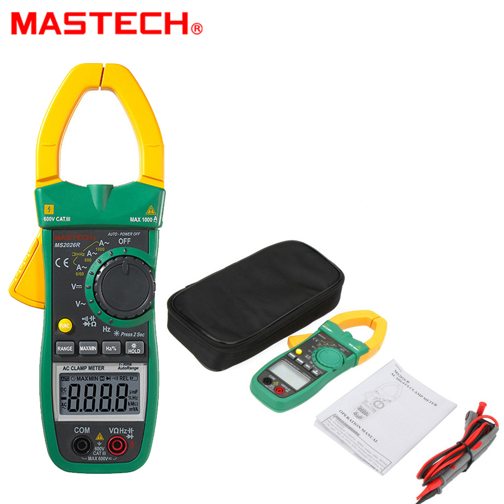 Mastech MS2026R Digital Clamp Meter Tecrep Tester AC Ammeter AC/DC Voltmeter Resistance Frequency Detector Multimeter 1000A digital meter clamp ammeter hook 31022a