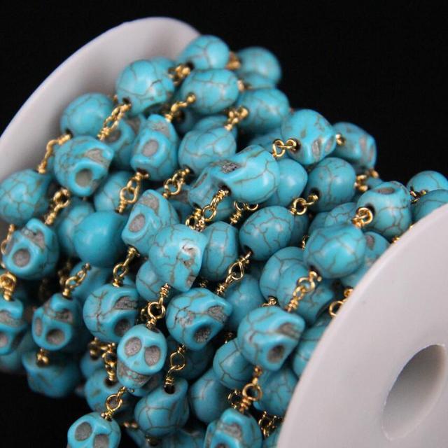 Купить 5 м/лот 8x10 мм размер череп голубой бирюзовый розарий цепи
