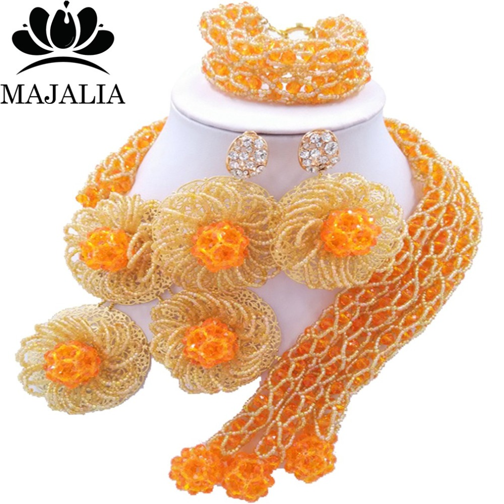 купить Fashion african wedding beads orange nigerian wedding african beads jewelry set Crystal Free shipping Majalia-303 по цене 4185.25 рублей