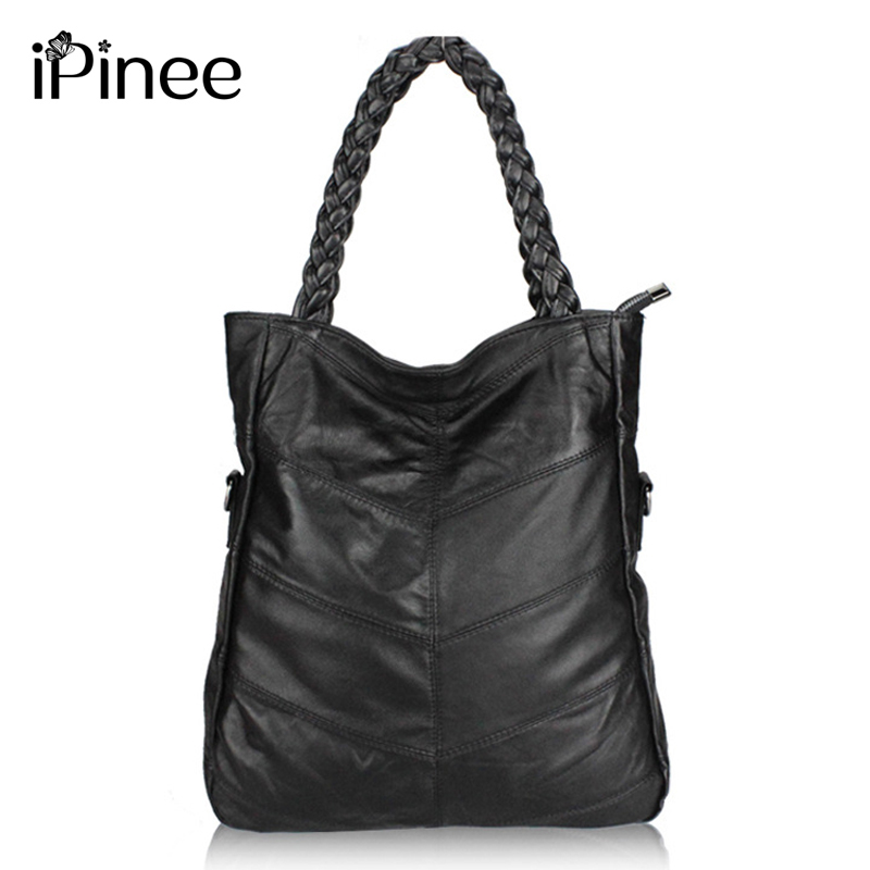 iPinee Fashion Genuine Leather Women Handbag Patchwork Natural Sheepskin Shoulder Bag Famous Brand Women Bag