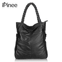 iPinee Fashion Genuine Leather Women Handbag Patchwork Natural Sheepskin Shoulder Bag Famous Brand Women Bag