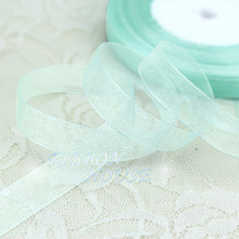 (50 yards/roll)1/2''(12mm) light blue organza ribbons wholesale gift wrapping decoration Christmas ribbons(China)