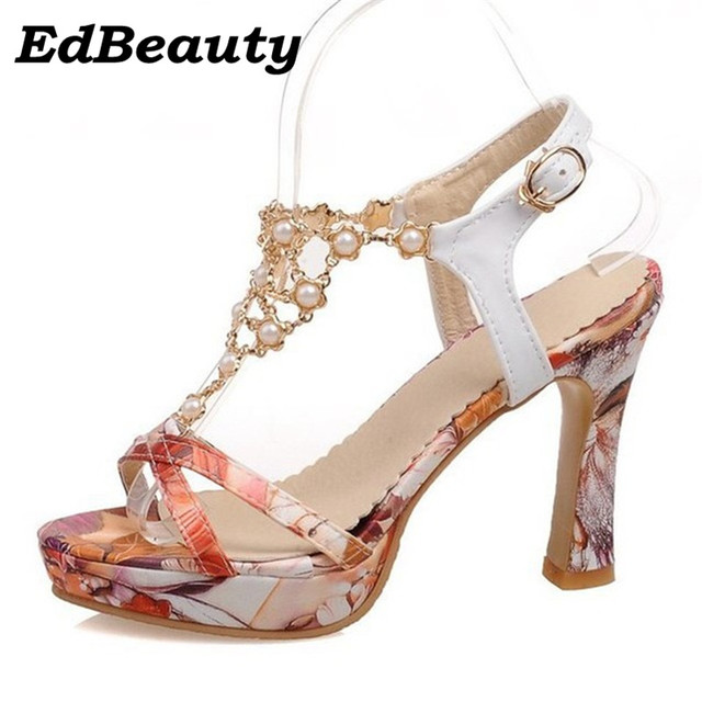 New arrival Summer shoes Ladies sandals Hoof heels Platform Pearl Flower  Pink White Green PU Fashion Sweets Sale on Glitter 06185d1c02a0