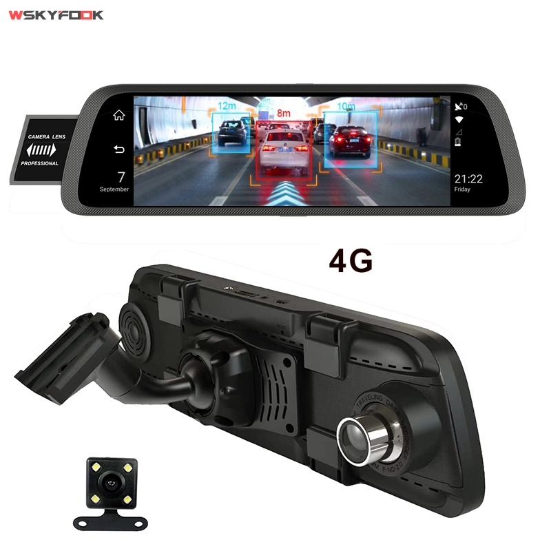 10 Full Touch IPS 4G Android Mirror GPS FHD 1080P Dual lens Car DVR vehicle rearview